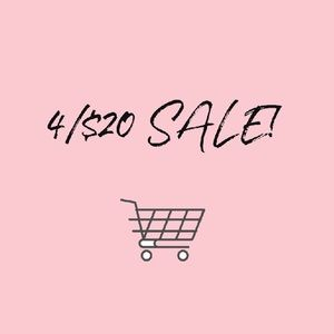 Bundle 4 items for $20! Look for 4/$20 in titles!